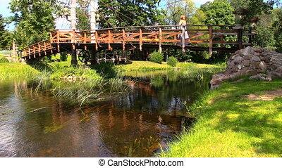 woman bridge river
