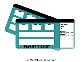 Flight Tickets - Illustration of two flight tickets,...