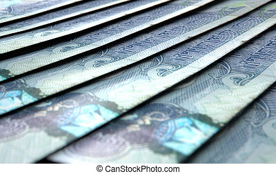 Lined Up Close-Up Banknotes - A macro close-up view showing...