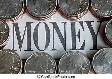 """包囲, U,  s, 単語,  """"money"""", 四分の一"""