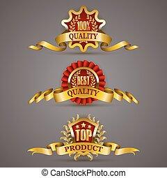 Golden badges with laurel wreath - Set of luxury golden...