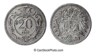austro-hungarian, moneda, viejo