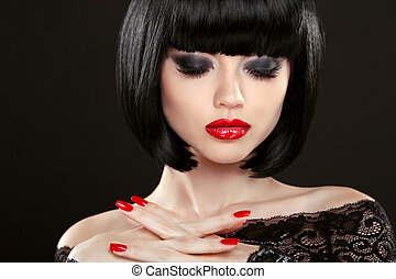 Fashion model girl face, beauty woman makeup and red...