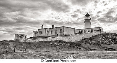 Neist Point Lighthouse BW HDR - Lighthouse on the cliffs of...
