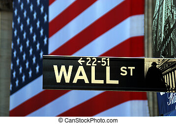 Street sign for Wall Street in front of NYSE