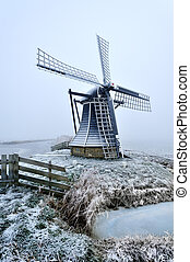 beautiful winter windmill landscape in the Netherlands