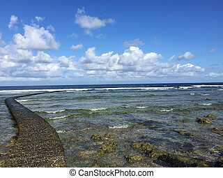 Rocky Coast along the Pacific Ocean, Kenting, Taiwan -...