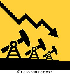 Oil Price Fall Graph Vector - Oil Price Fall Graph with Oil...