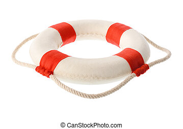 White-red lifebuoy - Isolated objects: white-red lifebuoy,...