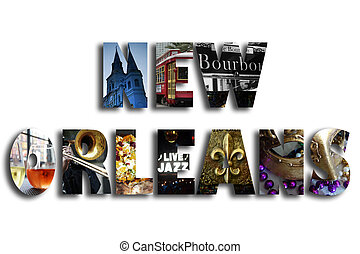 New Orleans illustration with assorted famous landmarks and...