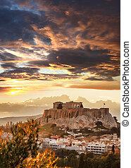 衛城, 由于, Parthenon, 寺廟, 在, 雅典, 希臘,