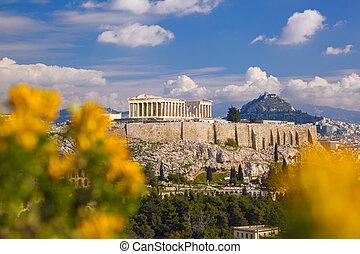 Acropole, à, Parthenon, temple, dans, Athènes,...