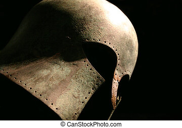 Medieval Warrior Helmet - Dramatic profile shot of a...
