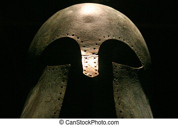 Medieval Warrior Helmet - Dramatic shot of a medieval...