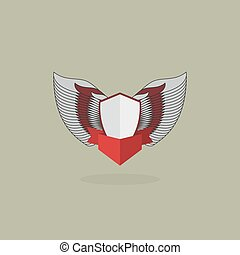 shield with wings. vintage heraldic