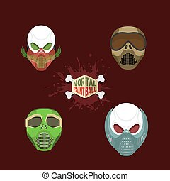 set paintball evil mask skull Mortal paintball