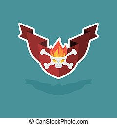 skull with flames on the shield and