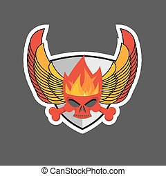 skull with flames