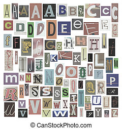Newspaper alphabet - Collection of newspapers, magazines...
