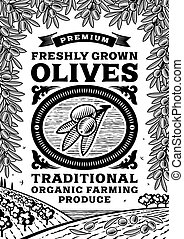 Retro olives poster black and white