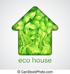 Eco House - Eco house made of fresh green leaves and grass