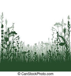 meadow - silhouette meadow grass and twigs of plants vector...