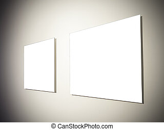 real empty frames gallery at plaster wallwith Photoshop path