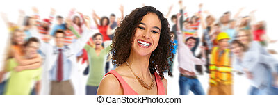 Group of happy people - Happy young beautiful woman with a...