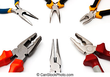 The flat-nose pliers isolated on a white background