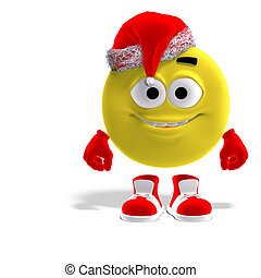 cool and funny emoticon for christmas - 3D rendering of a...