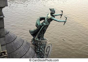Puente, mujer,  cechuv, Praga, estatua, Antorchas