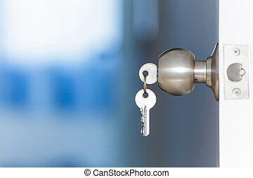 House of Keys - Open door with keys, key in keyhole