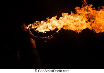 fogo, mostrar, com, Tochas,