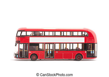 toy bus - miniature model of a modern red london bus on a...