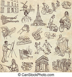 France travel - An hand drawn pack - Travel series: FRANCE -...
