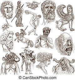 grecia, viaje, -, un, mano, dibujado, Paquete,