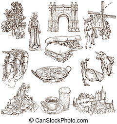 españa, viaje, -, un, mano, dibujado, Paquete,