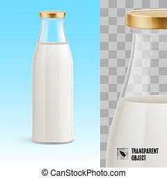 Milk bottle - Closed glass bottle of milk on a blue...