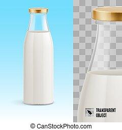Milk bottle - Closed glass bottle of milk on a blue...