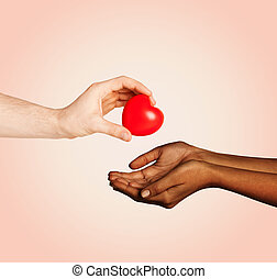 woman and man hands with red heart - love, charity,...
