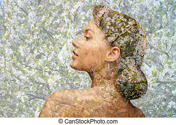 young woman face over blooming tree pattern - beauty,...