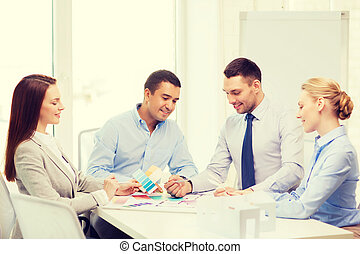 happy team of architects and designers in office - business,...