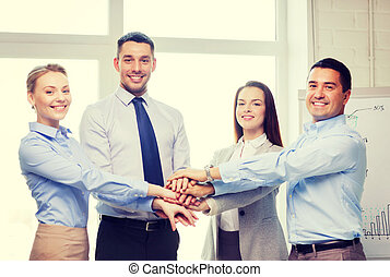 business team celebrating victory in office - success,...