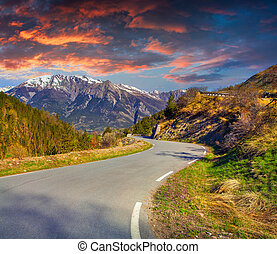 Colorful spring sunset on the Col dIsoard Pass, Alps, France...