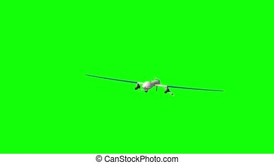 Military Drone. Green screen. - Military drone flying and...