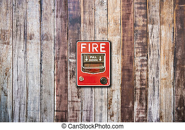 fire alarm box on wood wall for warning and security system