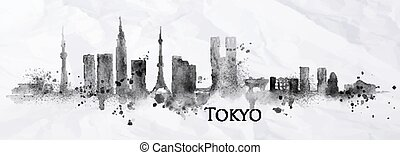 Silhouette ink Tokyo - Silhouette of Tokyo city painted with...