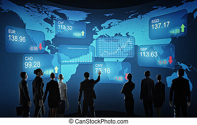 Financial market - Group of business people standing with...