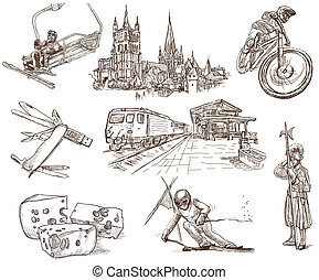 Switzerland travel - An hand drawn pack - Travel series:...