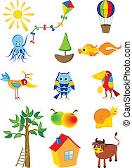 cartoon - Vector set of cartoon characters and objects